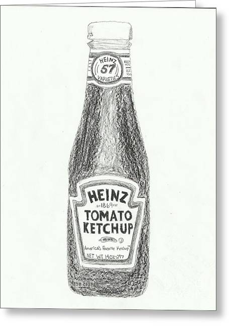 Heinz Ketchup Greeting Cards - Black and White Ketchup Greeting Card by Jasmine Norris-Dixson