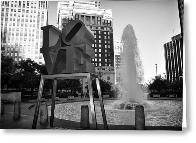 John F. Kennedy Plaza Greeting Cards - Black and White Love Greeting Card by Bill Cannon