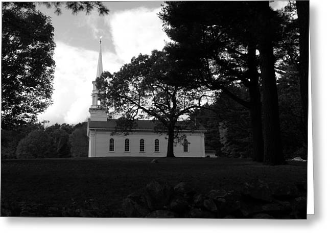 Martha Mary Chapel Greeting Cards - Black and White MM Chapel Greeting Card by Kim Galluzzo Wozniak