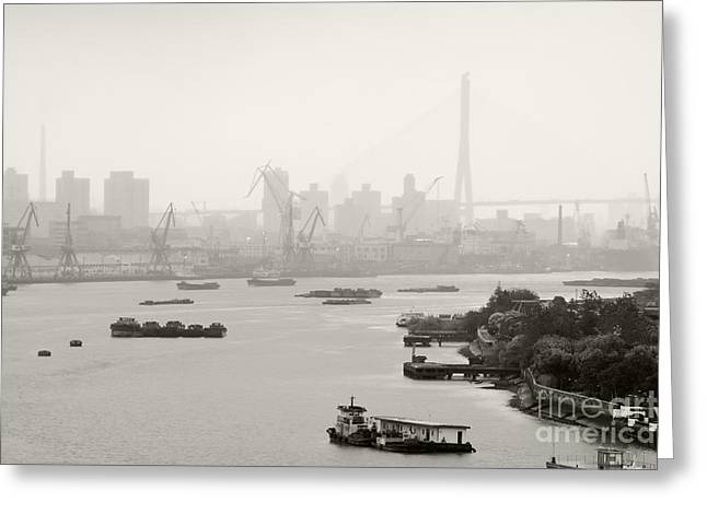 Black Commerce Greeting Cards - Black and White of Cranes and River Traffic Greeting Card by Jeremy Woodhouse