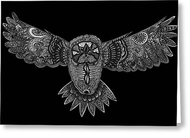 Karen Elzinga Mixed Media Greeting Cards - Black and white owl Greeting Card by Karen Elzinga