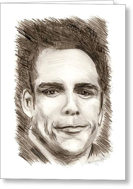 Pencil On Canvas Greeting Cards - Black and White Pencil Portrait Greeting Card by Mario  Perez