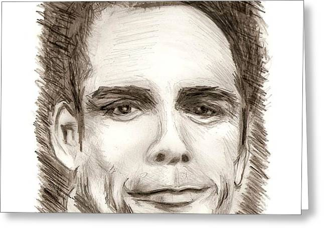 Black and White Pencil Portrait Greeting Card by Mario  Perez