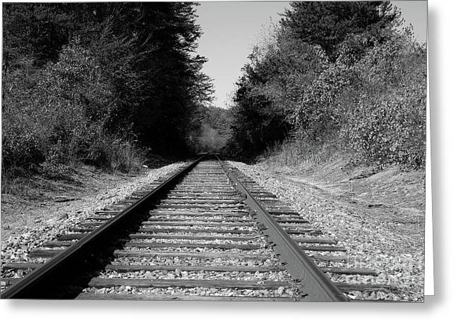 Sale Printing Greeting Cards - Black and White Railroad Greeting Card by Michael Waters