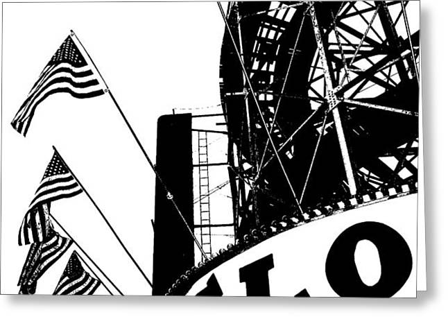 Black and White Roller Coaster Cyclone Greeting Card by ArtyZen Studios