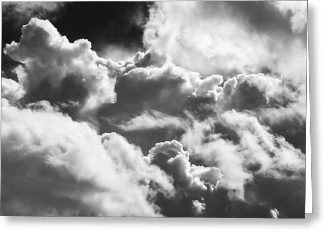 Overcast Day Greeting Cards - Black And white Sky With Building Storm Clouds Photo Poster Print Greeting Card by Keith Webber Jr