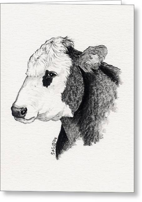 Steer Drawings Greeting Cards - Black and White Steer 2 Greeting Card by Sherri Strikwerda
