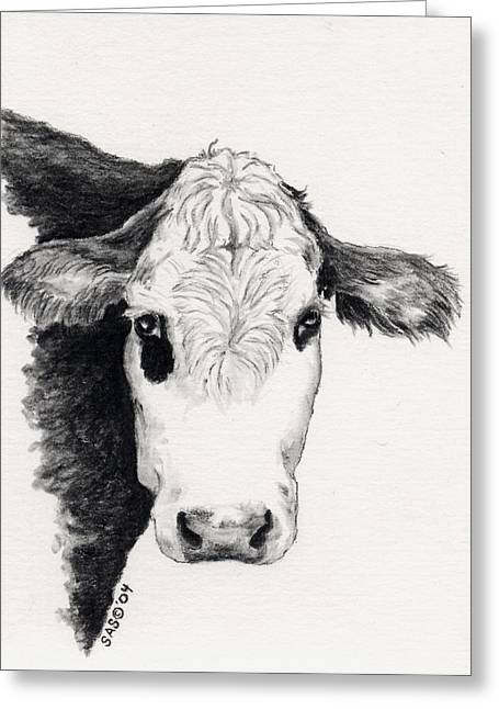 Steer Drawings Greeting Cards - Black and White Steer  Greeting Card by Sherri Strikwerda