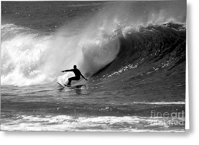 Waves Greeting Cards - Black and White Surfer Greeting Card by Paul Topp