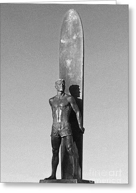 Steamer Lane Greeting Cards - Black and White Surfer Statue Greeting Card by Paul Topp