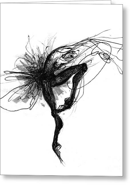 Black And White Swan Or Picture In Motion Greeting Card by Lousine Hogtanian