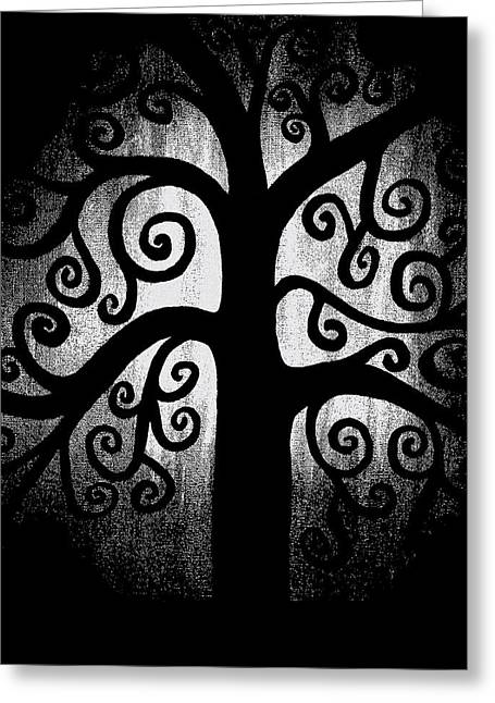Abstract Expression Greeting Cards - Black and White Tree Greeting Card by Angelina Vick