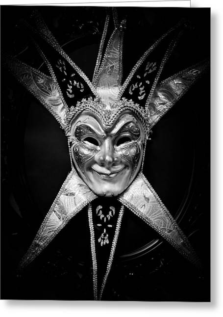Robert Hellstrom Greeting Cards - Black and white trickster Greeting Card by Robert Hellstrom