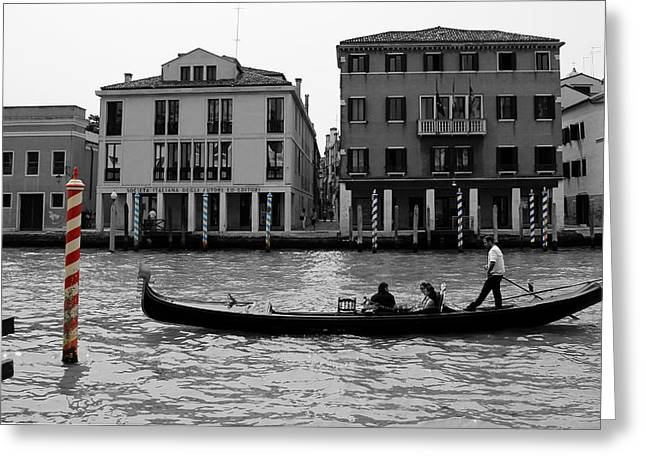 Docking Greeting Cards - Black and White Venice Greeting Card by Andrew Fare