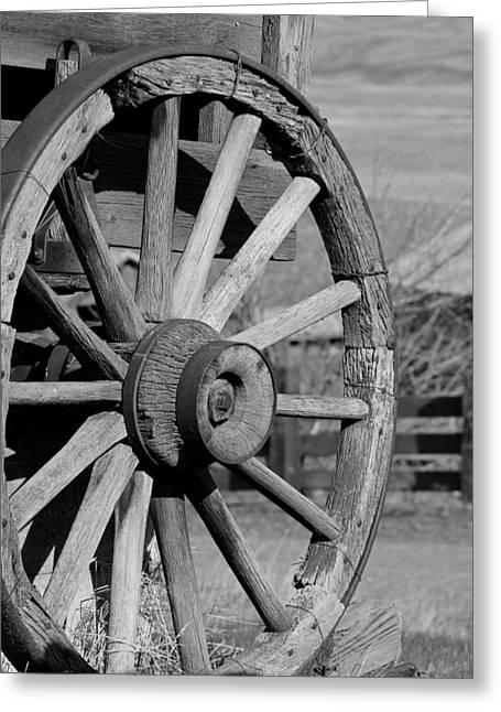 Lewis Gun Greeting Cards - Black and White Wagon Wheel Greeting Card by Athena Mckinzie