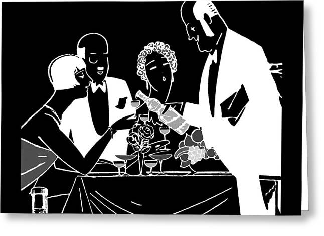 Wine Deco Art Photographs Greeting Cards - Black and White Wine Waiter Greeting Card by James Hill