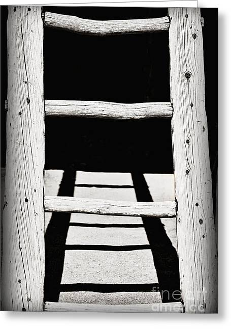Taos Greeting Cards - Black and White Wooden Ladder Greeting Card by Bryan Mullennix
