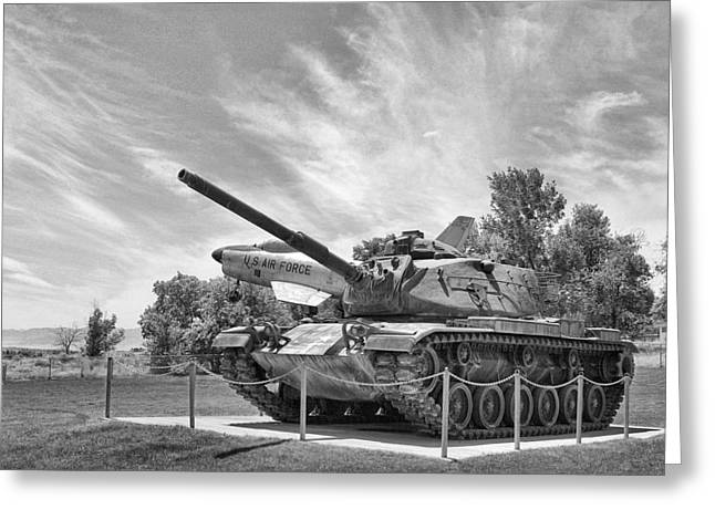 Army Tank Greeting Cards - Black and White WWII Tank Greeting Card by Linda Phelps