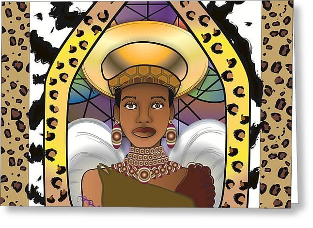 BLACK ANGEL Greeting Card by BRENDA DULAN MOORE
