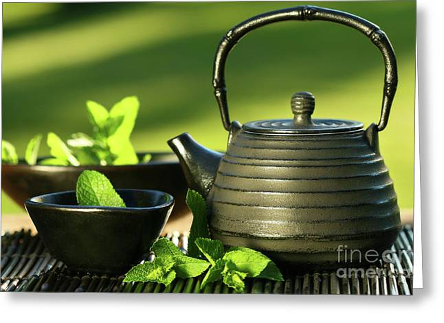 Hot Iron Greeting Cards - Black asian teapot with mint tea Greeting Card by Sandra Cunningham