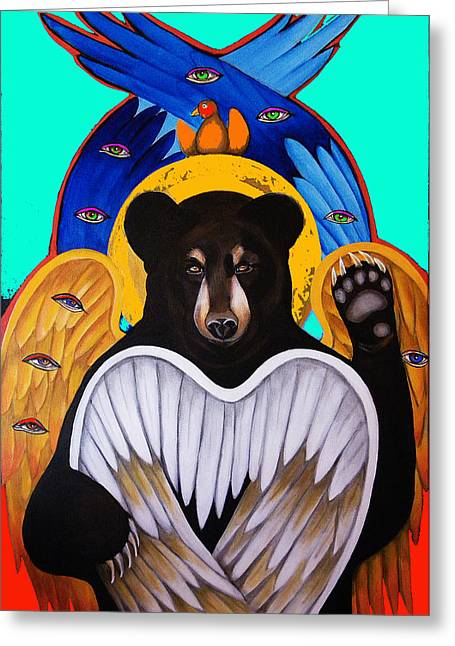 Seraphim Angel Greeting Cards - Black Bear Seraphim Photoshop Greeting Card by Christina Miller
