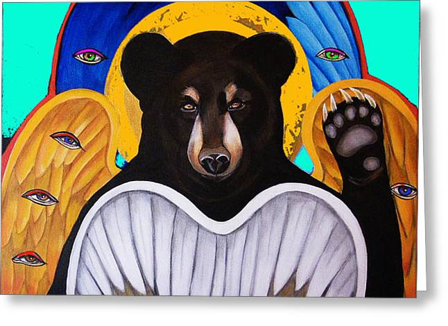 Black Bear Seraphim Photoshop Greeting Card by Christina Miller