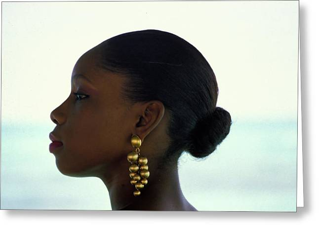 Gold Earrings Photographs Greeting Cards - Black Beauty Greeting Card by Carl Purcell