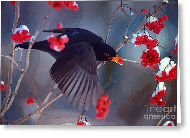 Black Berries Mixed Media Greeting Cards - Black Bird in Flight Greeting Card by Jerry L Barrett