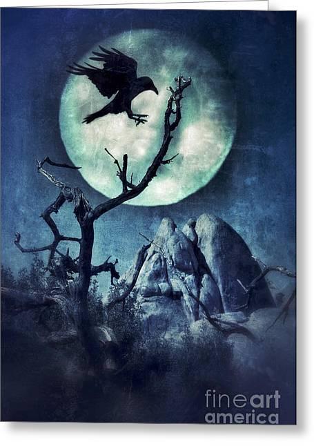 Night Terror Greeting Cards - Black Bird Landing on a Branch in the Moonlight Greeting Card by Jill Battaglia