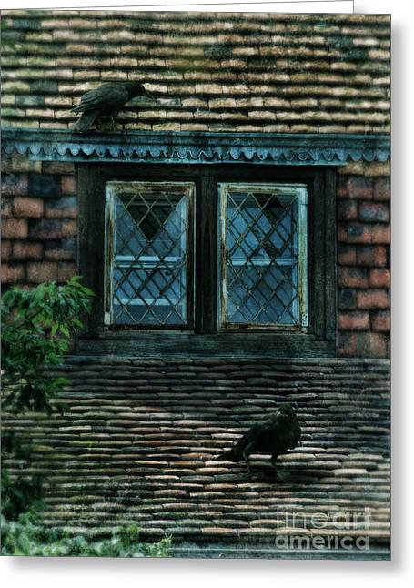 Two Crows Greeting Cards - Black Birds Sitting on Roof by Window Greeting Card by Jill Battaglia