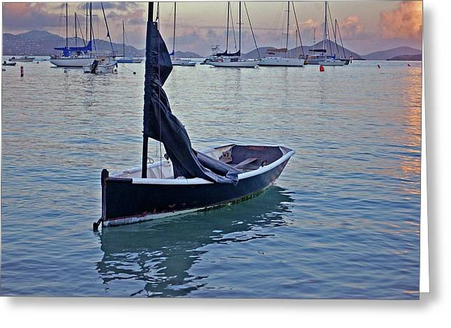 Crimson Tide Greeting Cards - Black Boat and the Sunrise Greeting Card by Michael Thomas