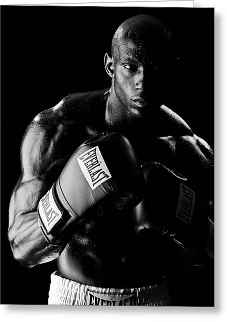 Boxer Greeting Cards - Black Boxer in Black and White 03 Greeting Card by Val Black Russian Tourchin