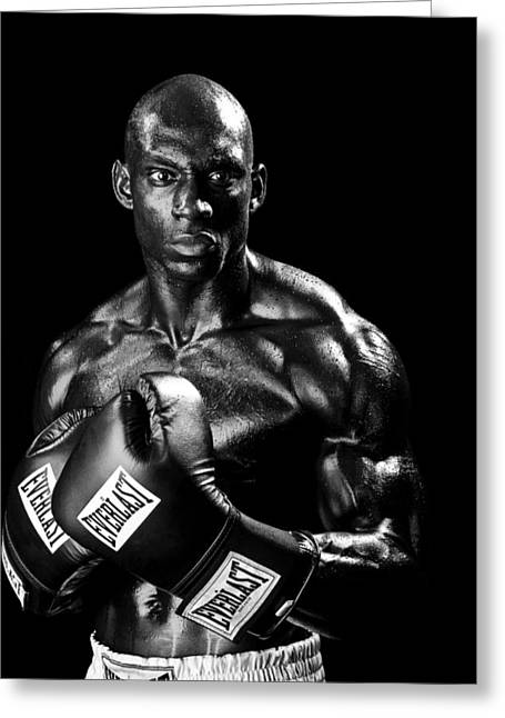 Boxer Greeting Cards - Black Boxer in Black and White 05 Greeting Card by Val Black Russian Tourchin