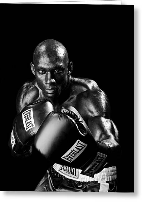 Fitness Model Greeting Cards - Black Boxer in Black and White 06 Greeting Card by Val Black Russian Tourchin