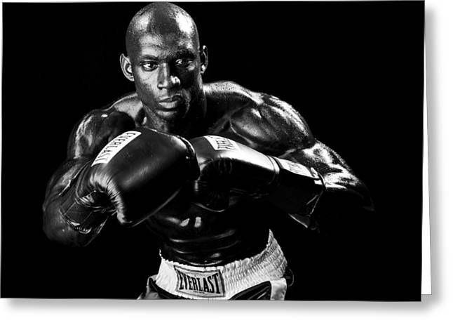 Fitness Model Greeting Cards - Black Boxer in Black and White 07 Greeting Card by Val Black Russian Tourchin