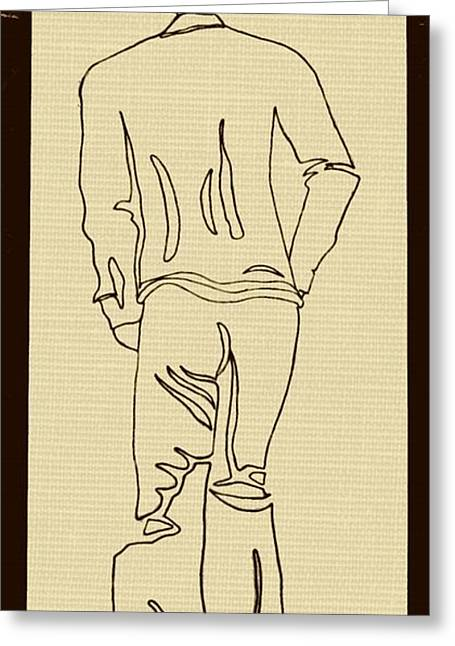 African-american Drawings Greeting Cards - Black Boy Standing on Table Greeting Card by Sheri Parris