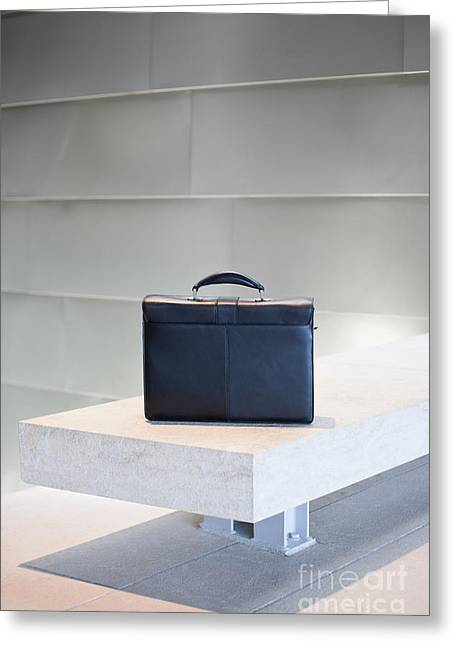 Office Space Photographs Greeting Cards - Black Briefcase on White Stone Bench Greeting Card by Jetta Productions, Inc