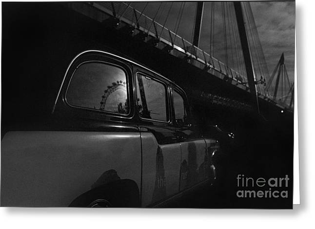 Charing Cross Bridge Greeting Cards - Black Cab and Hungerford Bridge Greeting Card by Aldo Cervato