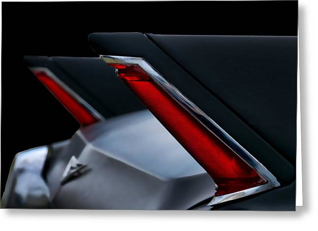Fin Greeting Cards - Black Cadillac Greeting Card by Douglas Pittman