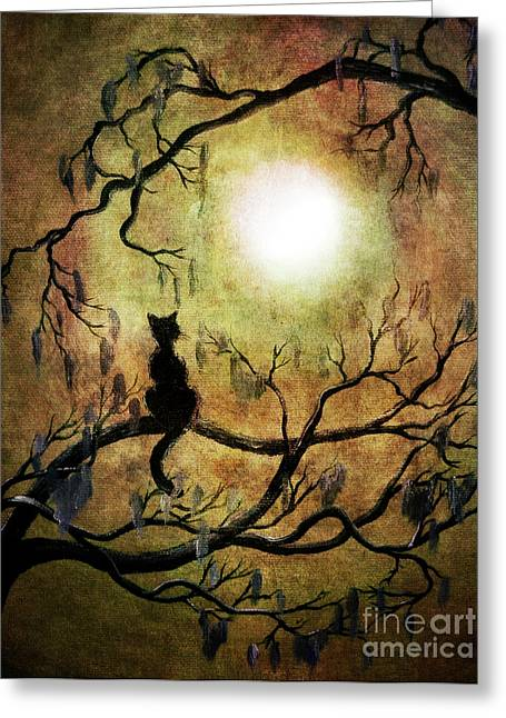 Black Cat Fantasy Greeting Cards - Black Cat and Full Moon Greeting Card by Laura Iverson