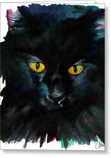 Witch Cat Greeting Cards - Black Cat Greeting Card by Christy  Freeman