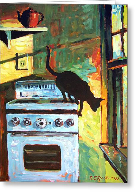 Old Stove Greeting Cards - Black Cat in the Kitchen Greeting Card by Roelof Rossouw