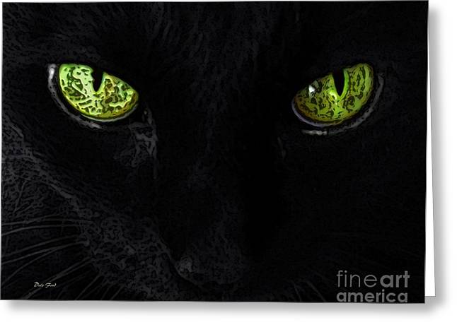 Photos Of Cats Digital Greeting Cards - Black Cat Mystique Greeting Card by Dale   Ford