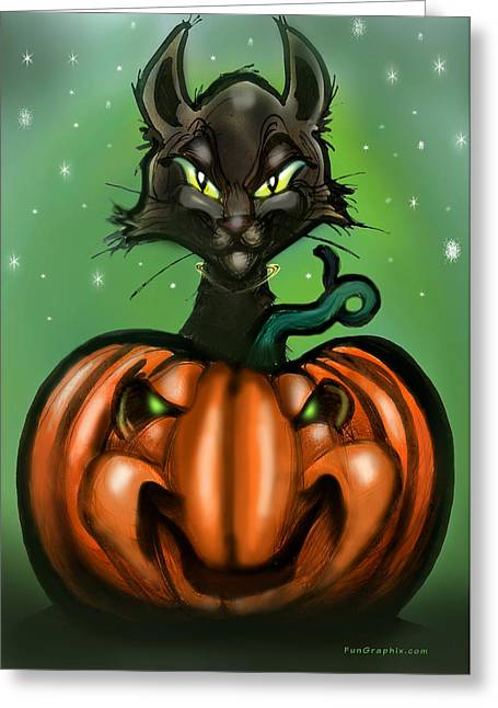 Humor Greeting Cards - Black Cat n Pumpkin Greeting Card by Kevin Middleton