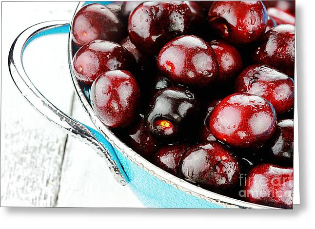 Strainer Greeting Cards - Black Cherries Greeting Card by Stephanie Frey