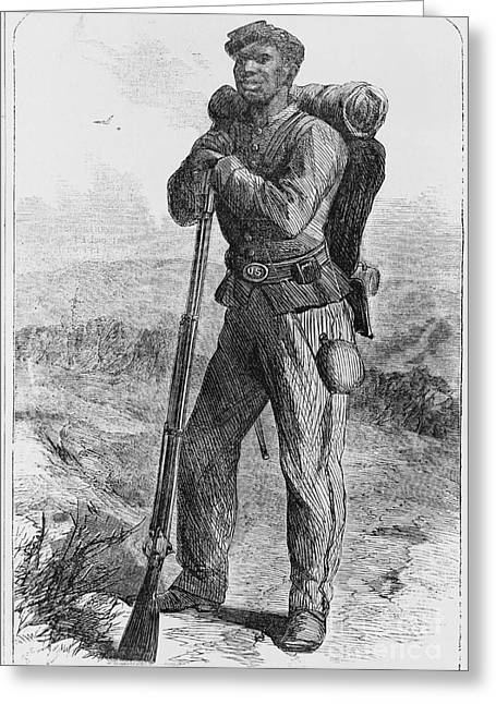 Refugee Art Greeting Cards - Black Civil War Soldier Greeting Card by Photo Researchers