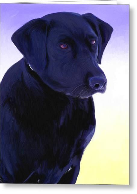 Mixed Media Greeting Cards - Black Dog Greeting Card by Snake Jagger