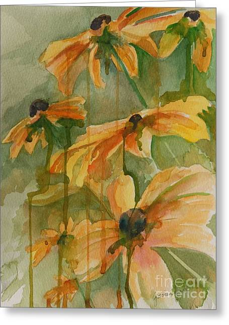 Drippy Paintings Greeting Cards - Black Eyed Susans Greeting Card by Gretchen Bjornson