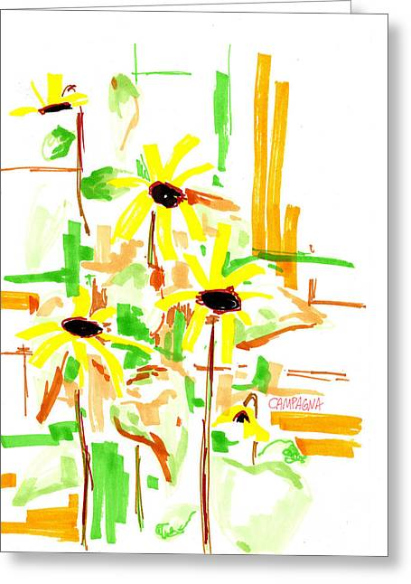 Indigo Drawings Greeting Cards - Black Eyed Susans Greeting Card by Teddy Campagna