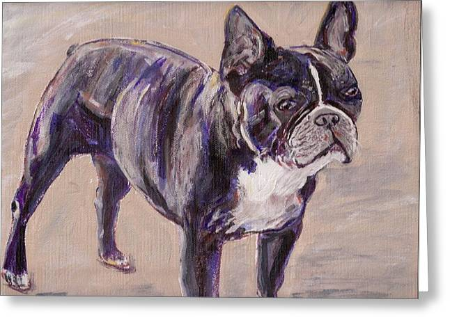 Arthur Rice Greeting Cards - Black Frenchie Greeting Card by Arthur Rice